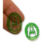 Plexy verde - Entrepieza y colgante Virgen de Guadalupe 25 mm