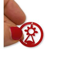 Plexy rojo - Colgante en circulo Virgen del Covadonga 20  mm