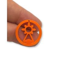 Plexy naranja - Colgante en circulo Virgen del Covadonga 20  mm