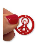 Plexy rojo - Entrepieza circulo Virgen de la Milagrosa 20 mm