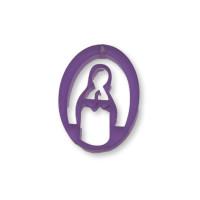 Plexy morado - Entrepieza y colgante Virgen Maria 25 mm