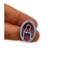 Plexy azul pastel - Entrepieza y colgante Virgen Maria 25 mm