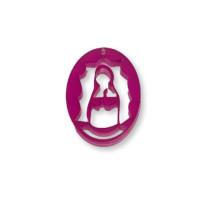 Plexy fucsia - Entrepieza y colgante Virgen de Guadalupe 25 mm