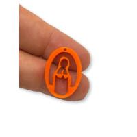 Plexy naranja - Entrepieza y colgante Virgen Maria 25 mm