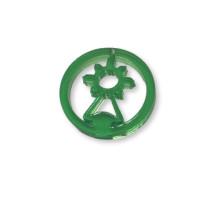 Plexy verde - Colgante en circulo Virgen del Covadonga 20  mm