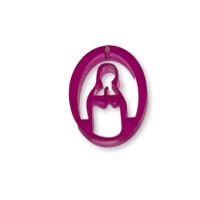 Plexy fucsia - Entrepieza y colgante Virgen Maria 25 mm