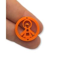 Plexy naranja - Entrepieza circulo Virgen de la Milagrosa 20 mm