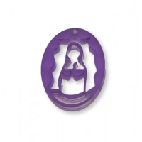 Plexy morado - Entrepieza y colgante Virgen de Guadalupe 25 mm