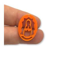 Plexy naranja - Entrepieza y colgante Virgen de Guadalupe 25 mm