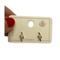 Rayos acero dorado circonitas - Pendiente acero inox ( 1 par)