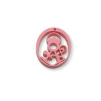 Plexy rosa pastel - Entrepieza y colgante Virgen de la Fuensanta 25 mm