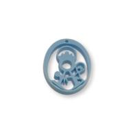 Plexy azul pastel - Entrepieza y colgante Virgen de la Fuensanta 25 mm