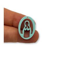 Plexy turquesa - Entrepieza y colgante Virgen Maria 25 mm