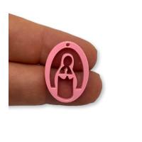 Plexy rosa pastel - Entrepieza y colgante Virgen Maria 25 mm