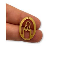 Plexy dorado - Entrepieza y colgante Virgen Maria 25 mm