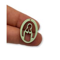 Plexy verde pastel - Entrepieza y colgante Virgen Maria 25 mm