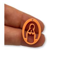 Plexy naranja pastel - Entrepieza y colgante Virgen Maria 25 mm