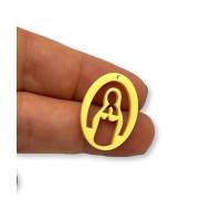 Plexy amarillo pastel - Entrepieza y colgante Virgen Maria 25 mm