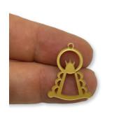 Plexy dorado - Colgante y entrepieza Virgen del Rocio 25x17 mm