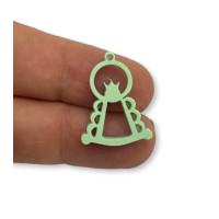 Plexy verde pastel - Colgante y entrepieza Virgen del Rocio 25x17 mm