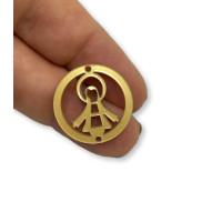 Plexy dorado - Entrepieza circulo Virgen de la Milagrosa 20 mm