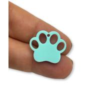 Plexy turquesa - Colgante huella mascota 20 mm, int 1.2 mm