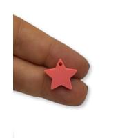 Plexy frambuesa - Colgante estrella 15 mm, int 1.2 mm