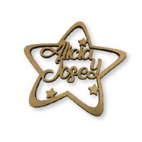 Estrella de Navidad 9 cm - Con 2 nombres personalizado POR ENCARGO  (15 días aprox)
