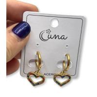Aros 12 mm corazon circonitas - Pendientes de acero dorado (1 par)