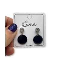 Circonitas con moneda 15 mm esmalte negro - Pendientes de acero plateado (1 par)