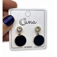 Circonitas con moneda 15 mm esmalte negro - Pendientes de acero dorado (1 par)