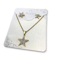 Collar y pendientes acero inox dorado estrellas strass 10 m