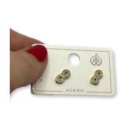 Infinito circonitas blancas 10x5 mm- Pendientes de acero dorado  (1 par)