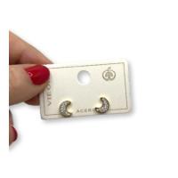 Luna circonitas blancas 10 mm- Pendientes de acero dorado  (1 par)