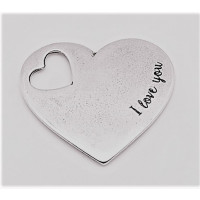 Colgante zamak baño plata corazon I love you 39x35 mm