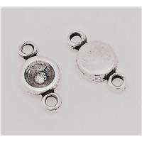 Entrepieza zamak baño plata conectora 23x12 mm,con hueco chaton 7 mm