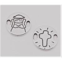 Entrepieza zamak baño plata moneda angelito comunión 20 mm