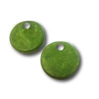 Colgante moneda de ceramica mate 24 mm- Color Verde