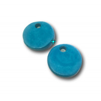 Colgante moneda de ceramica mate 24 mm- Color Turquesa