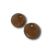Colgante moneda de ceramica mate 24 mm- Color Marron