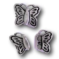Cierre ZAMAK baño plata iman mariposa 33x26 mm, taladro 15x3 mm