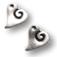 Colgante ZAMAK  corazon curvado espiral 19x17 mm