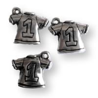 Colgante ZAMAK  camiseta futbol nº 1, 16x19 mm ( baño de plata)
