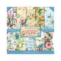 Flowers- Pack 20x20 cm scrapbooking Stamperia -10 pgs