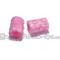 Tubo hueco aguas blancas topos 13x8 mm  Int 3 mm - Color rosa