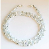 Cuelgamascarillas  - 50 cm - Tonos blanco, plata y transparente