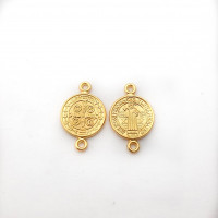 Entrepieza zamak dorado medalla religion santos 12 mm