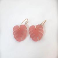 Mosteras rosa frost en aros 20 mm - Pendientes acero color dorado ( 1 par)