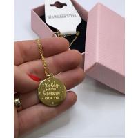 No hay mejor hermana que tu - Gargantilla fina y medalla de  acero dorado 40 cm + 5 cm extendedora