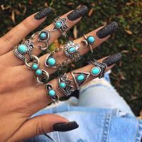 Lote artesano de 11 anillos de bisuteria con piedra